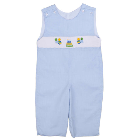 Blue Microcheck Birthday Smocked Longall