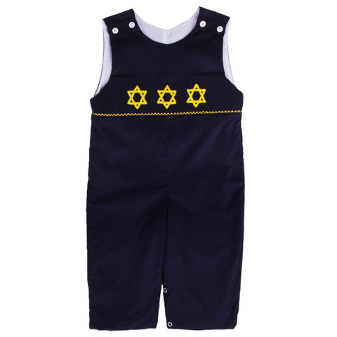 Navy Corduroy Star Of David Smocked Longall