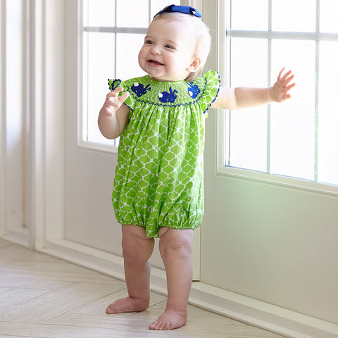 Lime Lattice Bunny Smocked Bubble