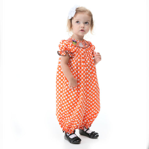 Orange Dot Halloween Smocked Bubble