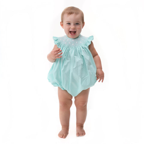 Mint Pearl Flowers Smocked Bubble