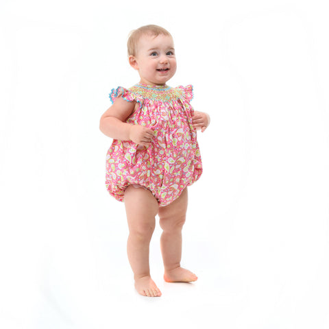 Hot Pink Paisley Smocked Bubble