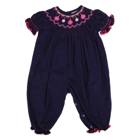 Navy Corduroy Ornaments Smocked Bubble