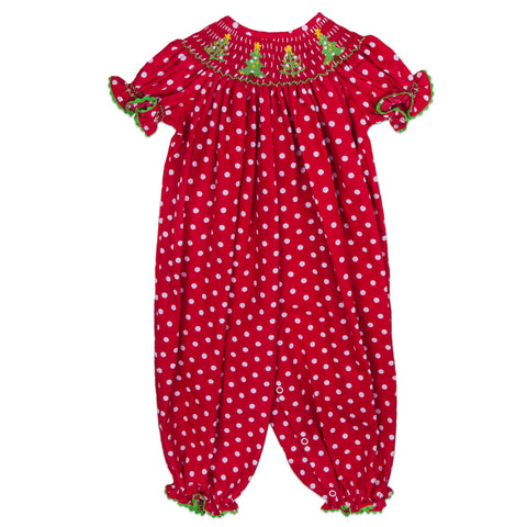 Red Dot Christmas Trees Bishop Smocked Bubble