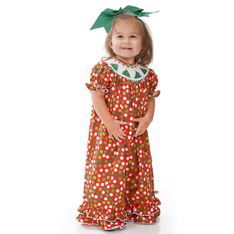 Christmas Dots Smocked Romper