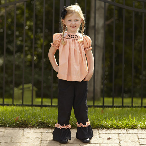 Orange Microcheck Boo Smocked Pant Set