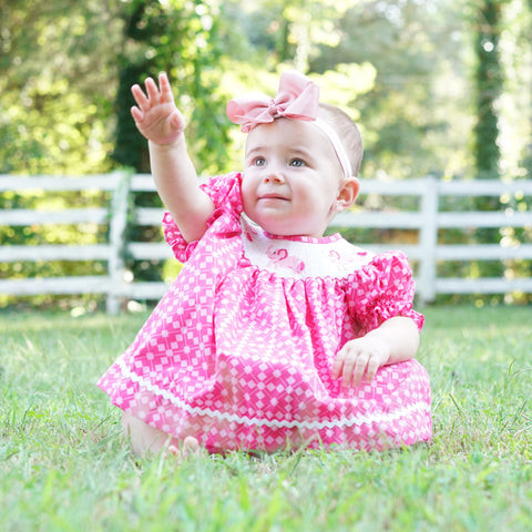 Pink Abstract Elephants Smocked Bloomer Set