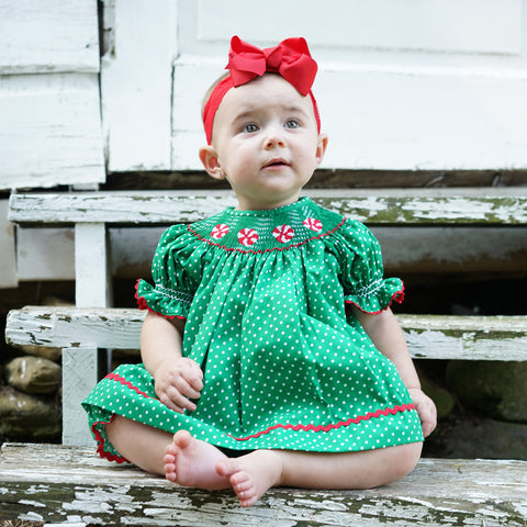 Green Dots Peppermints Smocked Bloomer Set