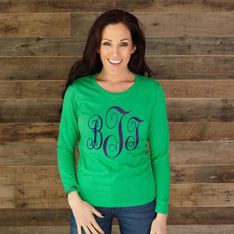 Ladies Kelly Green Navy Print Initials Tee