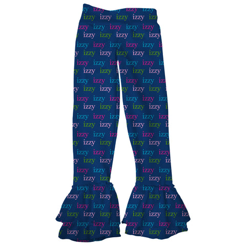Girls Lowercase Navy Name Ruffle Leggings