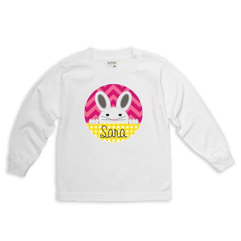 Bunny Chevron Circle Name Tee