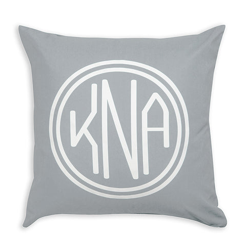 Gray Throw Pillow Cover with Monogram in Double Circle
