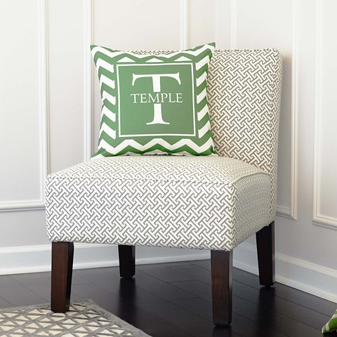 Green Chevron Throw Pillow Cover with Initial & Name in Square