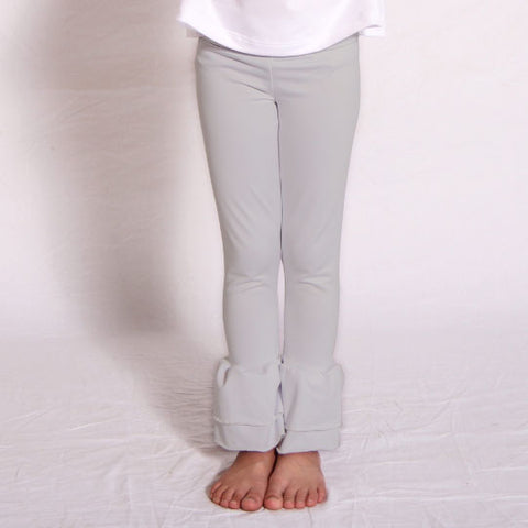 Girls Gray Ruffle Leggings