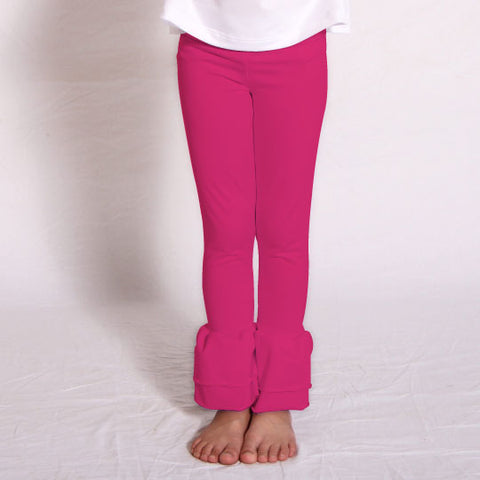 Girls Hot Pink Ruffle Leggings