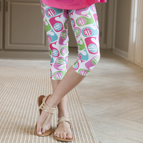 Girls Whale INITIALS Arden Capri Leggings
