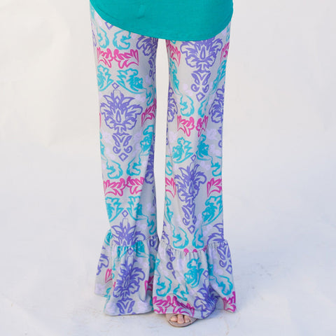 Ladies Damask Ruffle Pant