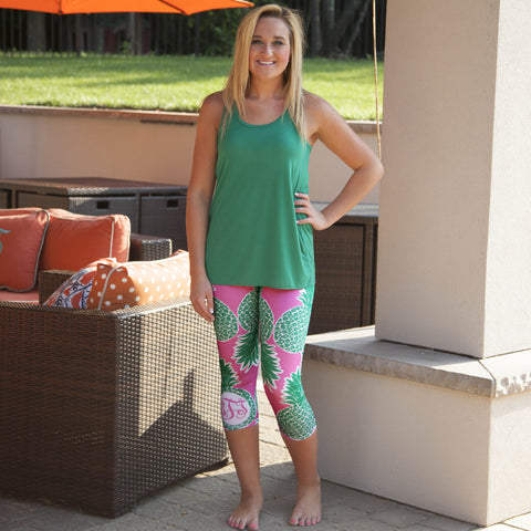 Ladies Custom Print Pineapple Initials Arden Capri Leggings