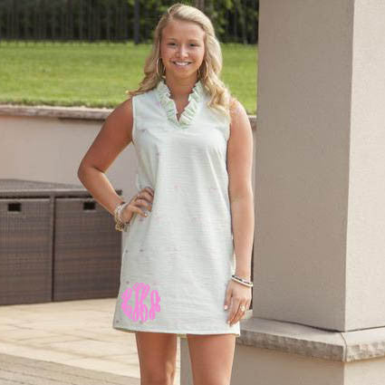 Seersucker Green and Pink Turtle Carolina Dress