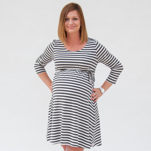 Gray Stripe Maternity Dress