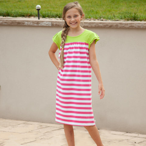 Hot Pink Stripe Green Yoke Dress