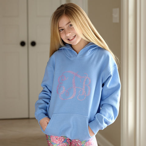 Blue Hooded Sweatshirt with Sparkle Initials