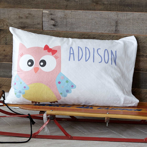 Minky Owl Name Pillowcase