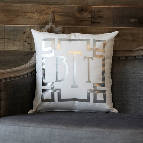 Silver Metallic Initial Pillow Cover