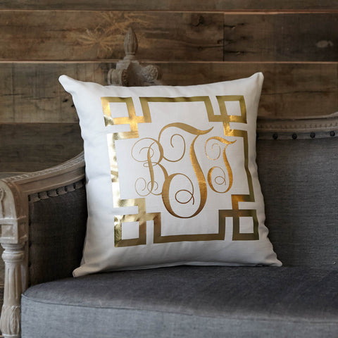Gold Metallic Initial Pillow Cover