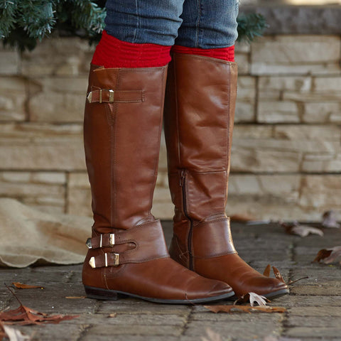 Ladies Red Boot Leg Warmers