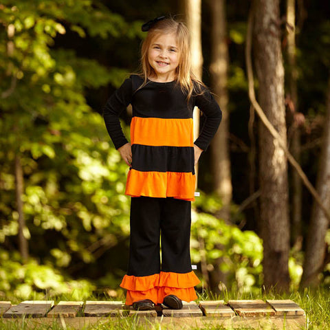 Girls Black & Orange Cotton Pant