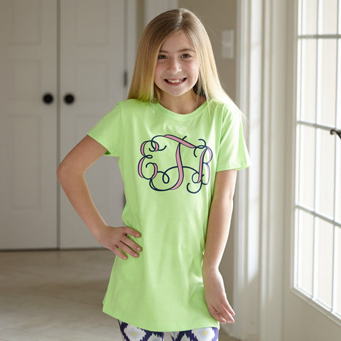 Lime With Navy & Pink Initials Tee
