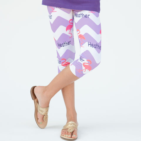 Girls Chevron Flamingo NAME Arden Capri Leggings
