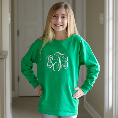 Green with Silver Initials Tee