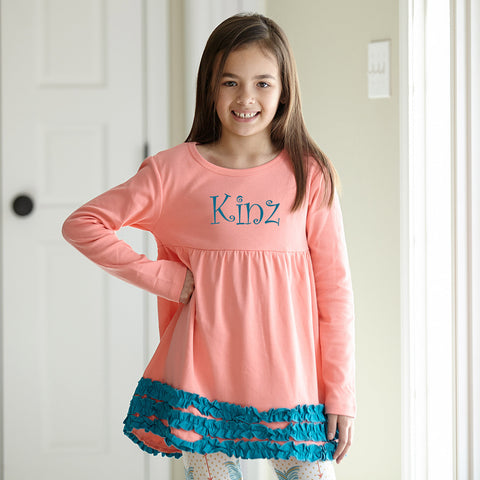 Peach Teal Squinchy Empire Top