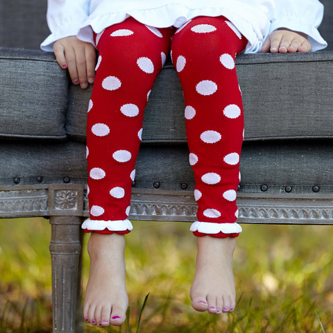 Red White Dot Ruffle Footless Tights