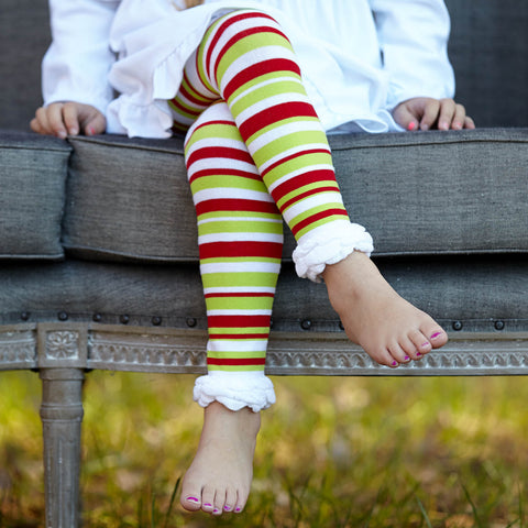 Stripe Ruffle Footless Tights