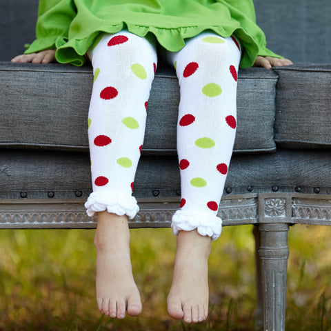 Red Lime Dot Ruffle Footless Tights