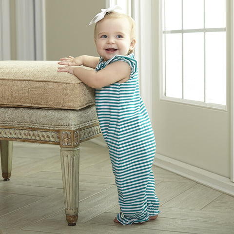 Baby Girls Teal Stripe Romper