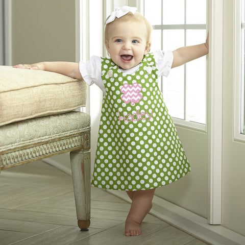 Green Dot Aline Dress