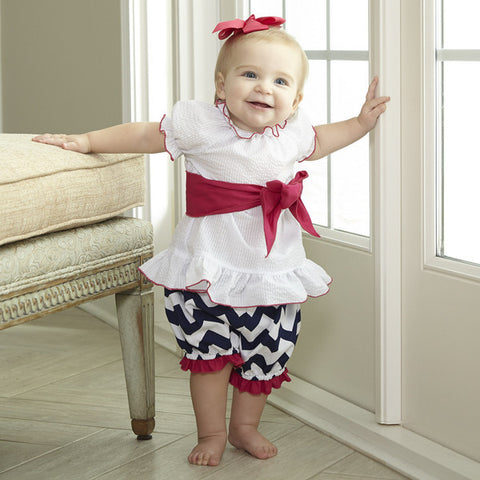 Seersucker Chevron Bloomer Set