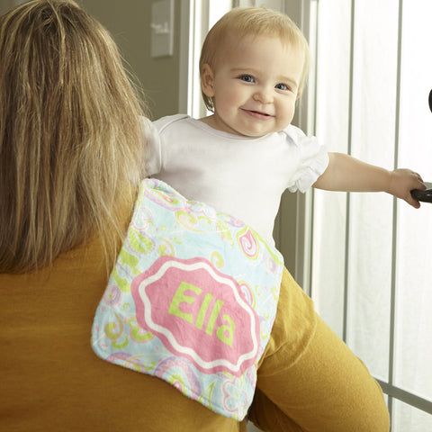 Paisley Name Minky Burp Cloth