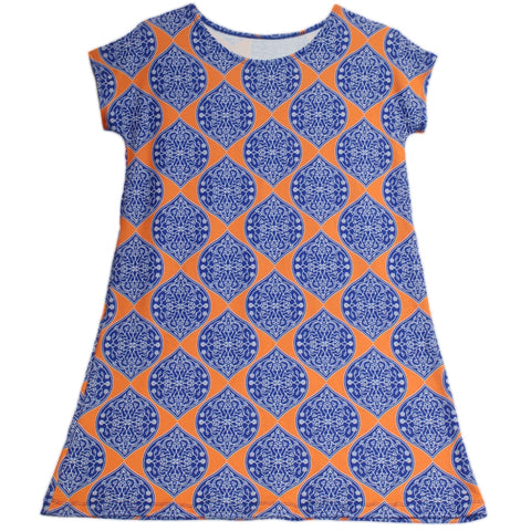 Orange Medallion Icons Willa Dress