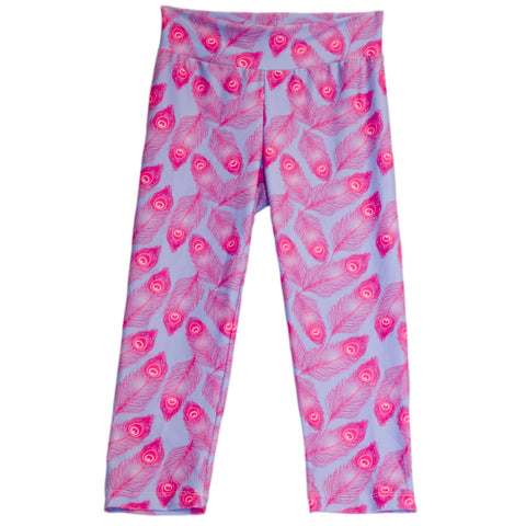Girls Purple Feather Capri Arden Leggings