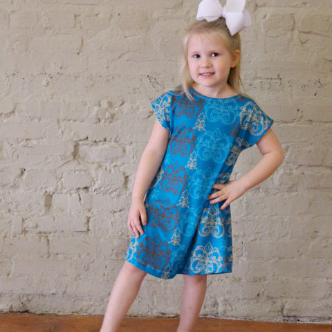Blue Damask Dot Eva Dress