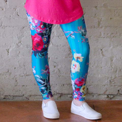 91085d3aa49da Ladies Teal Rose Stripe Arden Leggings