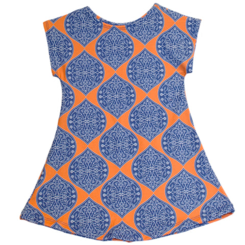 Orange Medallion Icons Eva Dress