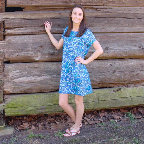 Blue Scroll Willa Dress