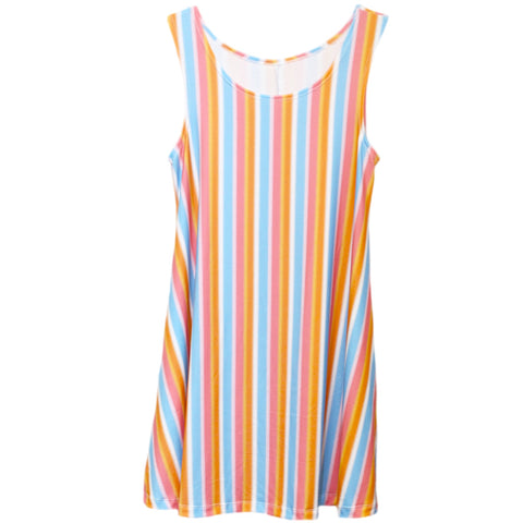 Tropic Stripe Rose Swing Dress