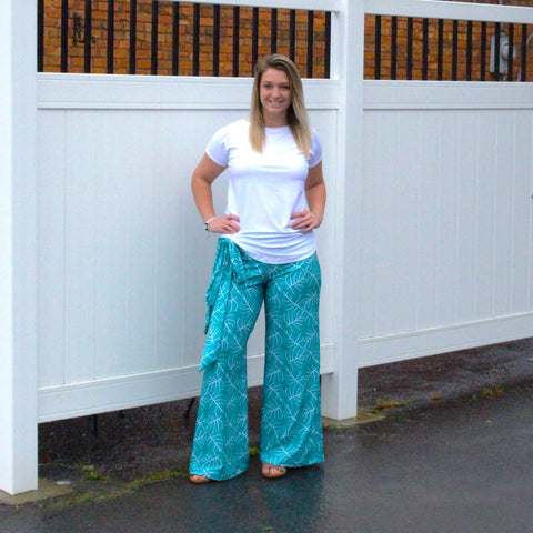 Teal Tropical Leaves Palazzo Pant